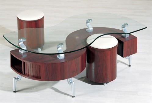 """C200 - Mahogany Contemporary """"S"""" shape coffee table"""
