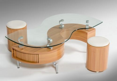 Modrest C200 Modern S-Shaped Coffee Table W/ 2 Poufs
