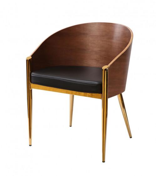Modrest Claret - Modern Walnut & Black Leatherette Accent Chair