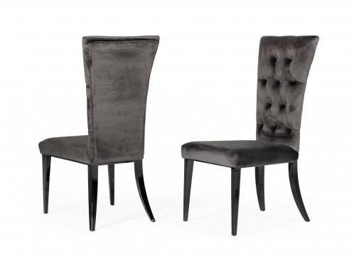 Modrest Darley - Modern Grey Velvet Dining Chair Set of 2
