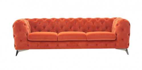 Divani Casa Delilah - Modern Orange Fabric Sofa