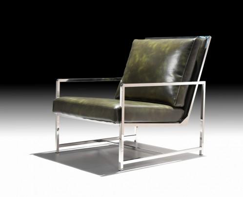 Divani Casa Milo Modern Dark Green Leatherette Accent Chair