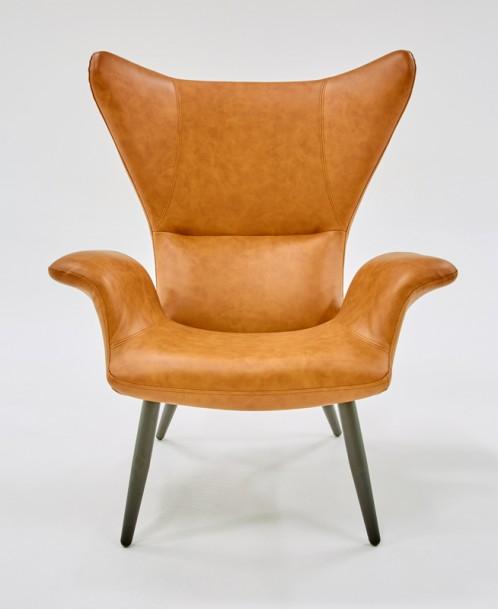 Divani Casa Slater Modern Cognac Leatherette Lounge Chair