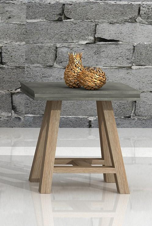 Modrest Civic Modern Concrete & Acacia End Table