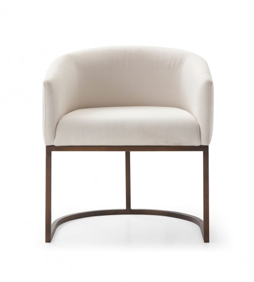 Modrest Elisa - Modern Off White & Brass Dining Chair