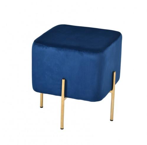 Modrest Daphne Modern Blue Velvet & Gold Ottoman