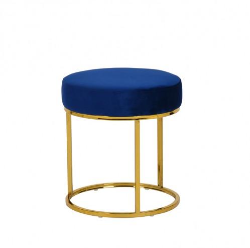 Modrest Elmont Modern Blue Velvet & Gold Stool Ottoman