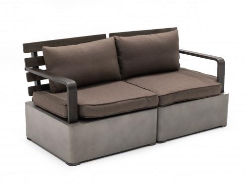 Renava Garza - Outdoor Concrete & Acacia 2 Seater Sofa Set
