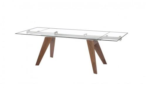 Modrest Musser Modern Extendable Glass & Walnut Dining Table