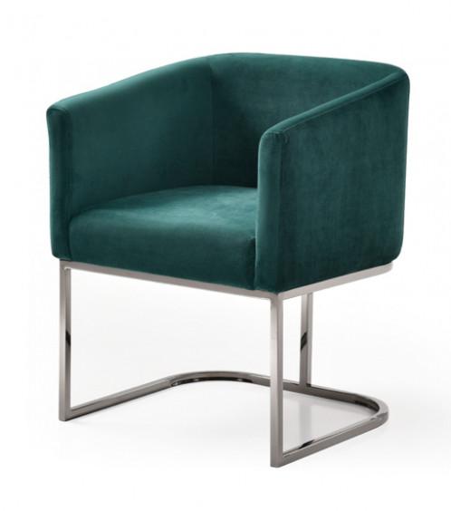 Modrest Yukon Modern Green Velvet & Black Gun Dining Chair
