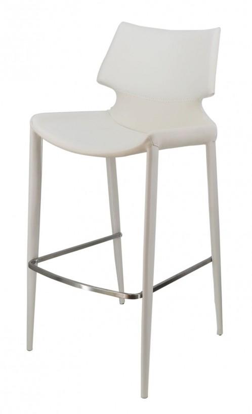 Modrest Hayes Modern White Eco-Leather Bar Stool (Set of 2)