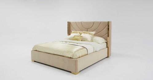 Divani Casa Visalia Modern Beige Velvet & Gold Bed