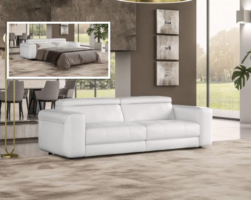 Coronelli Collezioni Icon - Modern Italian White Leather Queen Size Sofa Bed