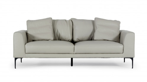 Divani Casa Jacoba - Modern Light Grey Leather Sofa