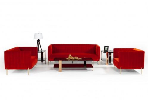 Divani Casa Karla Modern Red-Orange Velvet Sofa Set