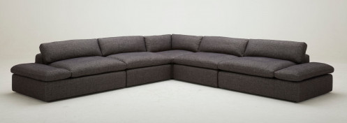 Divani Casa Kelly - Modern Dark Grey Fabric Sectional Sofa