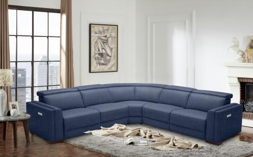 Divani Casa Frazier Modern Blue Fabric Sectional w/ Electric Recliners