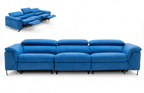 Divani Casa Maine - Modern Royal Blue Fabric Sofa w/ Electric Recliners