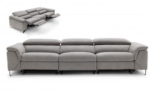 Divani Casa Maine - Modern Light Grey Fabric Sofa w/ Electric Recliners