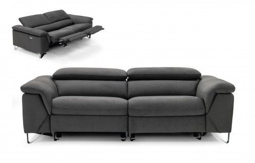 Divani Casa Maine - Modern Dark Grey Fabric Sofa w/ Electric Recliners
