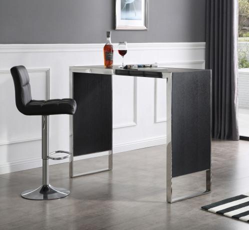 Modrest Manston - Modern Black Oak & Stainless Steel Bar Table