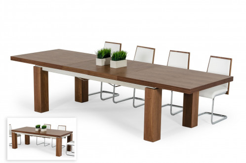 Modrest Maxi - Modern Walnut & Stainless Steel Dining Table