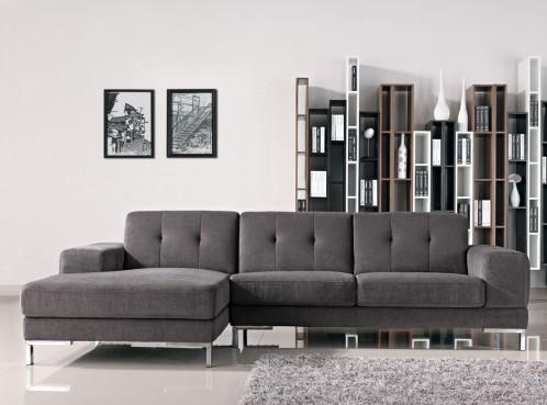 Divani Casa Forli Modern Grey Fabric Sectional Sofa w/ Left Facing Chaise