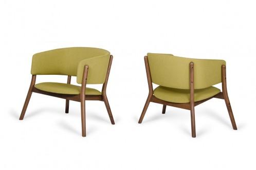 Dante - Modern Gold & Walnut Accent Chair (Set of 2)