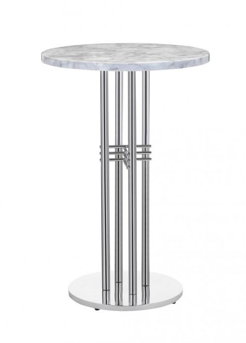 Modrest Munith - Modern White Marble & Stainless Steel Bar Table