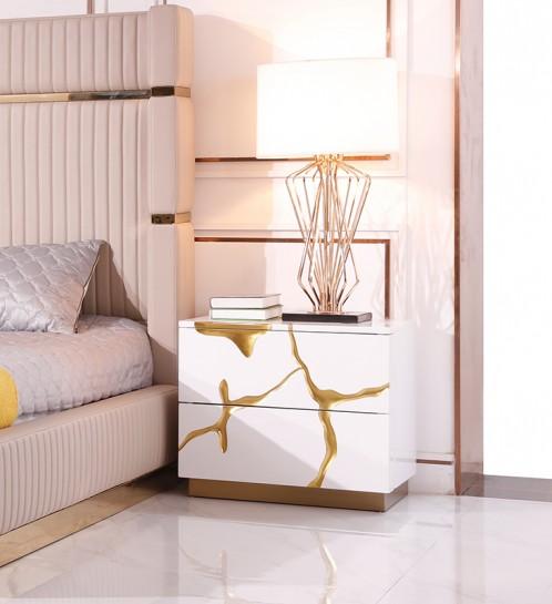 Modrest Aspen Modern White & Gold Nightstand