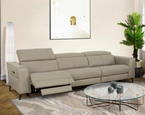 Divani Casa Nella - Modern Light Grey Leather 4-Seater Sofa w/ Electric Recliners