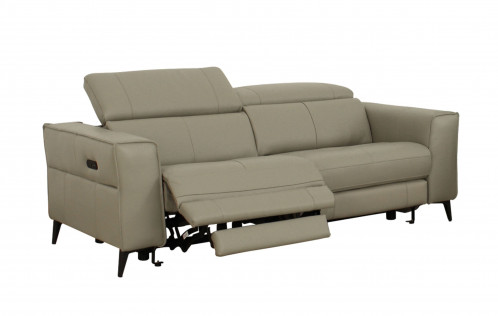 Divani Casa Nella - Modern Light Grey Leather 3-Seater Sofa w/ Electric Recliners
