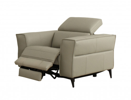 Divani Casa Nella - Modern Light Grey Leather Armchair w/ Electric Recliner