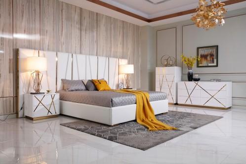 Modrest Nixa Modern White Bonded Leather & Gold Bed
