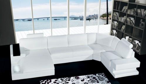 Orion Modern White Leather Sofa Set