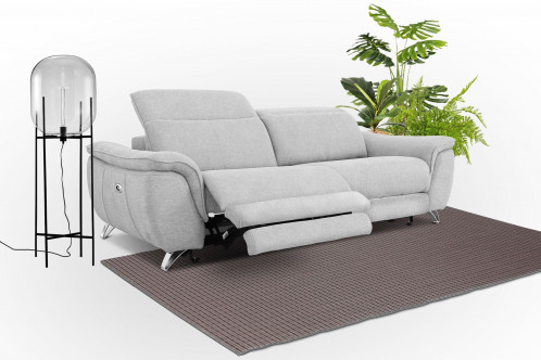 Divani Casa Paul - Contemporary Grey Fabric 3-Seater Sofa w/ Electric Recliners