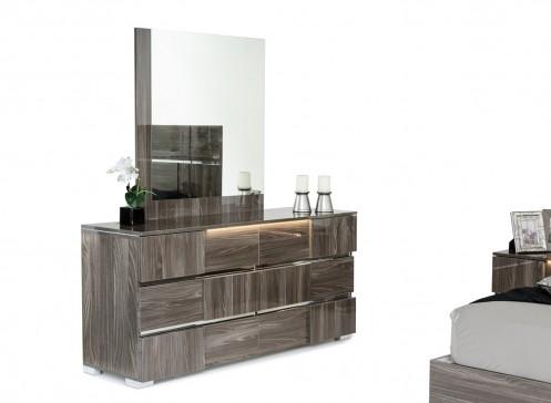 Modrest Picasso Italian Modern Grey Lacquer Dresser w/ LED Light