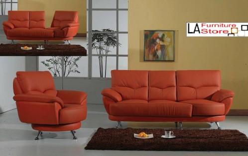 Polo Orange Leather Sofa