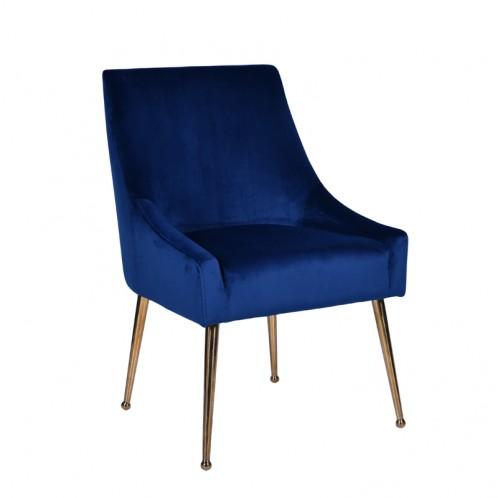 Modrest Castana Modern Blue Velvet & Gold Dining Chair (Set of 2)