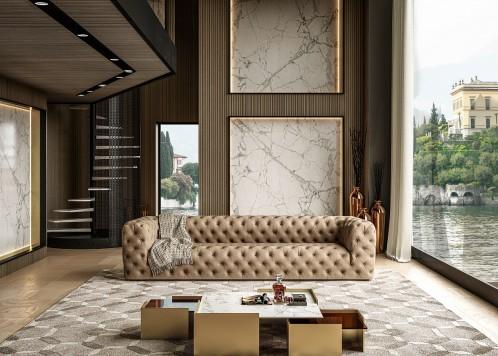 Coronelli Collezioni Ellington- Italian Grey Nubuck Leather 4-Seater Sofa