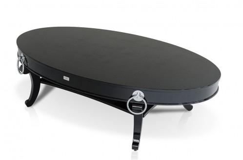 A&X RK802-162 Bellagio Black Crocodile Oval Coffee Table