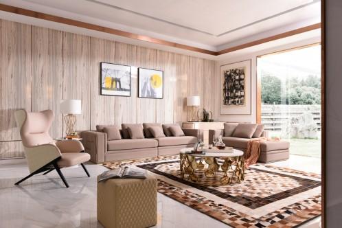 Divani Casa Euclid Modern Taupe Bonded Leather & Gold Large Sofa