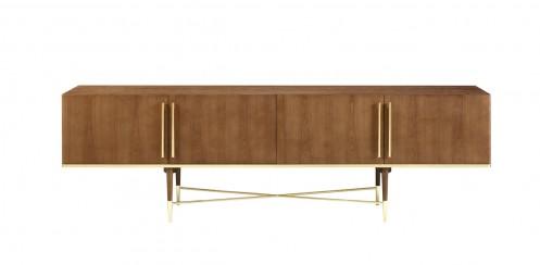 Modrest Bernard Mid-Century Modern Walnut & Gold Buffet