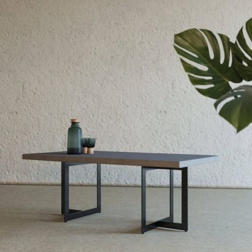 Modrest Sharon Modern Concrete & Black Metal Coffee Table