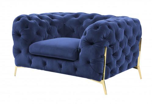 Divani Casa Sheila - Transitional Dark Blue Fabric Chair