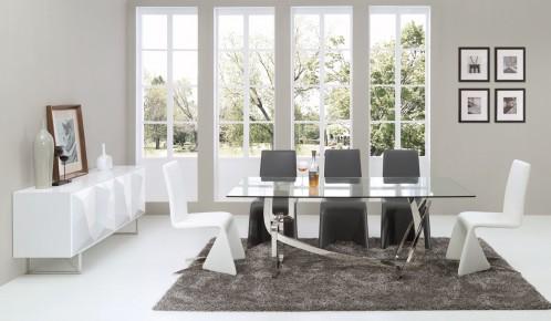 Modrest Adelaide Modern Stainless Steel & Glass Dining Table