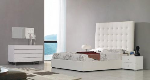 Modrest Lyrica - White Leatherette Tall Headboard Bed