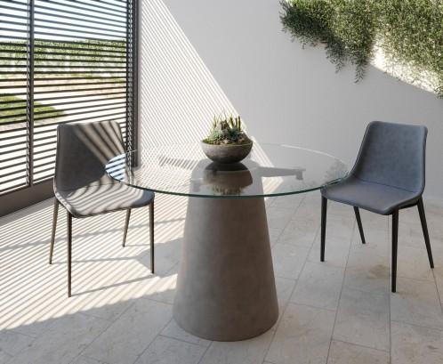 Nova Domus Essex - Contemporary Concrete, Metal and Glass Round Dining Table