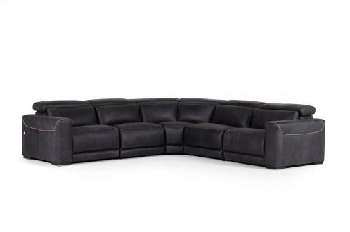 Estro Salotti Thelma - Italian  Modern Black Leather Sectional Sofa with Recliners