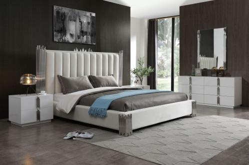 Modrest Token - Modern White & Stainless Steel Bed